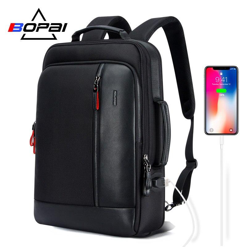 BOPAI Anti vol Agrandir Sac À Dos USB Externe Charge 15.6 Pouces sac à dos pour ordinateur portable Hommes sac à dos scolaire imperméable sacs pour Adolescent
