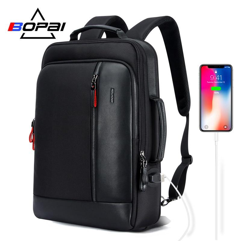 Bopai anti roubo ampliar mochila usb carga externa 15.6 Polegada portátil mochila sacos de escola à prova dwaterproof água para adolescente