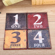 LINKWELL 10cmx10cm Retro Numbers Colorful Coaster Cup Holder Drink Placemat Mat Black 1 Red 2 Yellow 3 Green 4