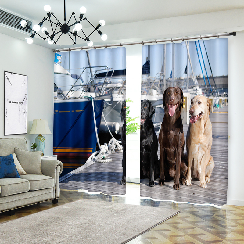 Pets Wait for The Host 3D Curtains for Living Room Window Treatments Modern Curtains Beding Room High-precision Shade