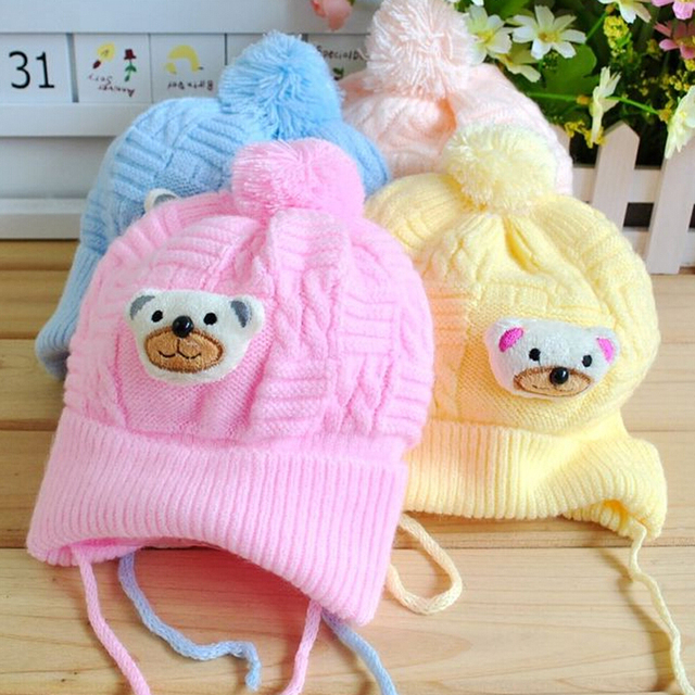 Autumn and winter baby hat baby hat newborn cap tire bear pocket hat line super-soft fleece baby hat