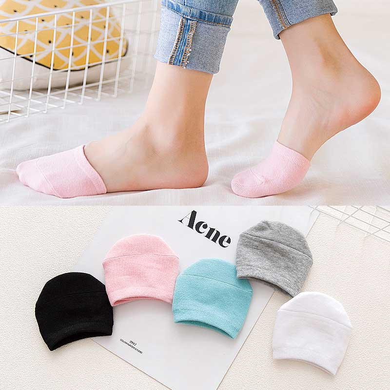 5Colors Cotton Comfortable Half Toe Cover Socks Slippers For Women Girls Half Feet Antiskid Summer Thin Invisible Boat Socks