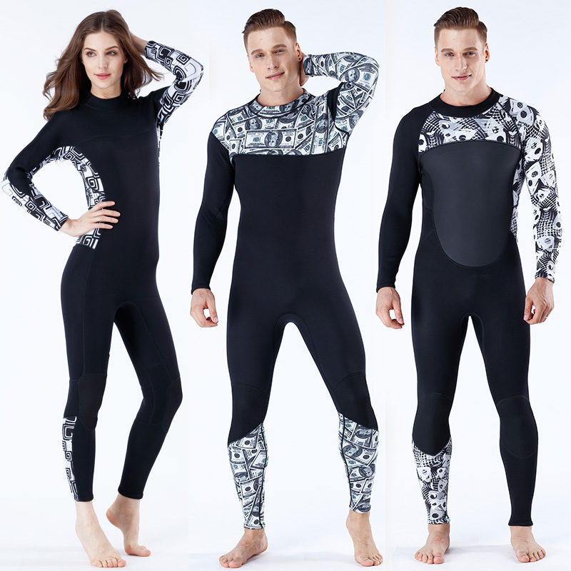 3mm Neoprene Male Female Printing Siamese Wetsuit Surf Scuba Diving Equipment Size S XXL