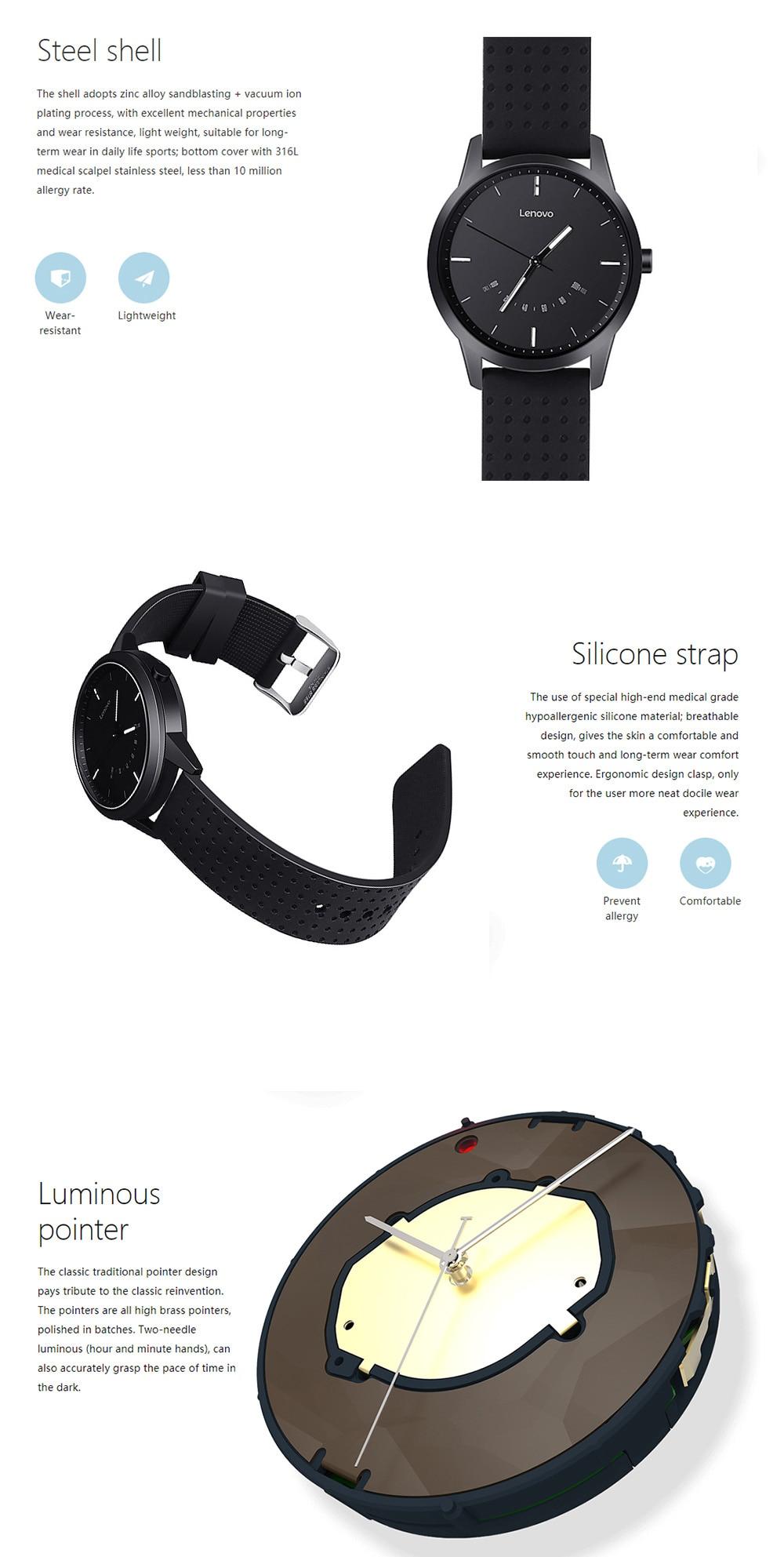 788383e08f8 Lenovo Relógio 9 Bluetooth Smartwatch Telefonema Lembrete 50 M À Prova D   Água Monitor de Sono Rastreador De Fitness Relógio Inteligente Para IOS  Android