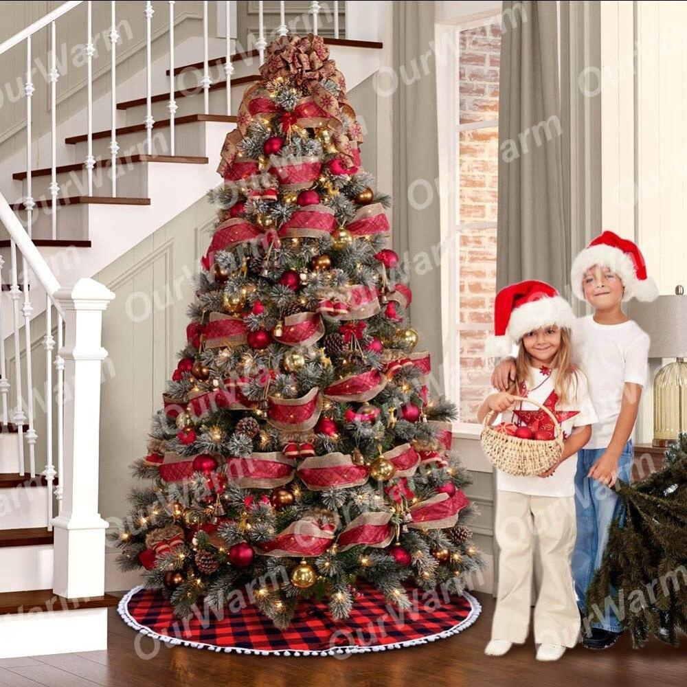 Beste Kopen Ourwarm 122 Cm Rood En Zwart Buffalo Plaid Kerstboom Rok