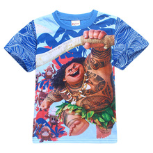 Children's Maui T Shirt Boys T-shirt Baby Clothing Little Boy Summer Shirt Cotton Tees Cartoon Moana Clothes