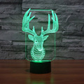 Creative 3d Stereo Nightlights Bedroom Nedside Table Lamp Standing Elk Birthday Wedding Valentine's Day Present Christmas Gift