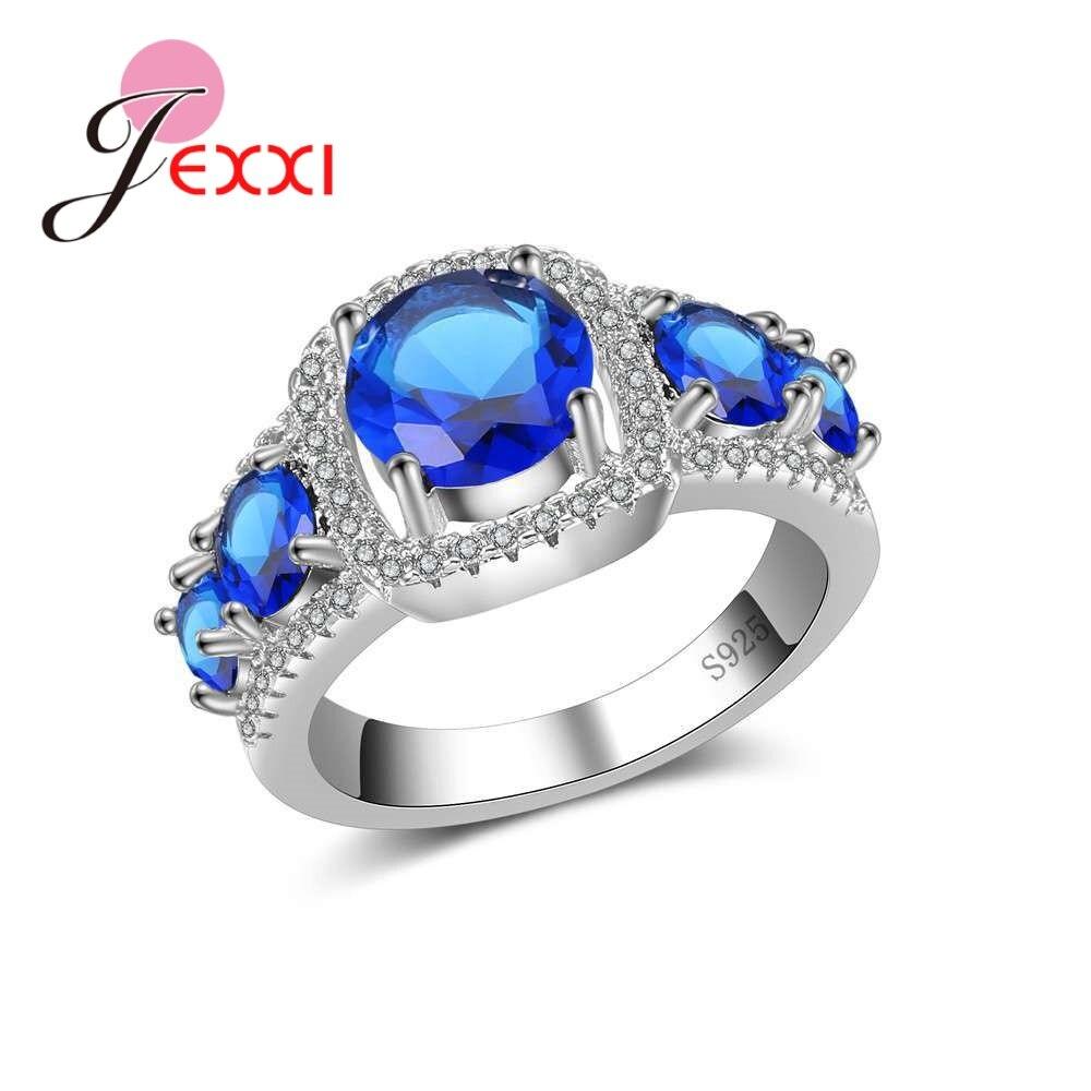 JEXXI Роскошные пяти Ясно CZ камни Дизайн 925 Серебряная свадьба Обручение обещание кольца ювелирные изделия для Для женщин леди