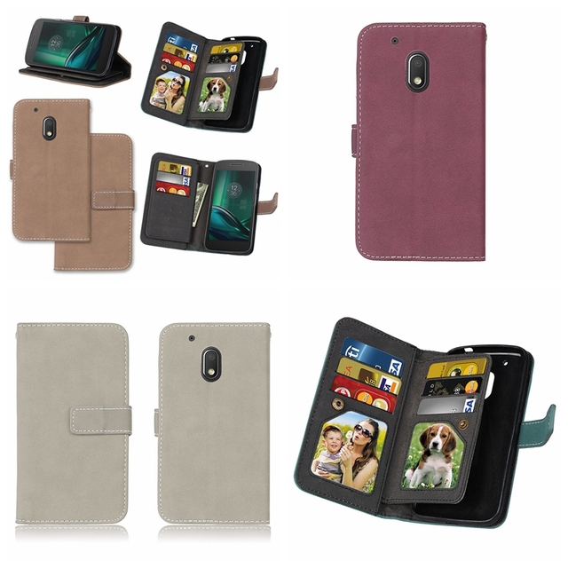 new concept 88b11 d8016 US $6.78 20% OFF|Luxury Wallet Flip Cover for Moto G4 Play Phone Case with  Card Holder Bag Retro Leather Case For Motorola Moto G4 Play Cases 5