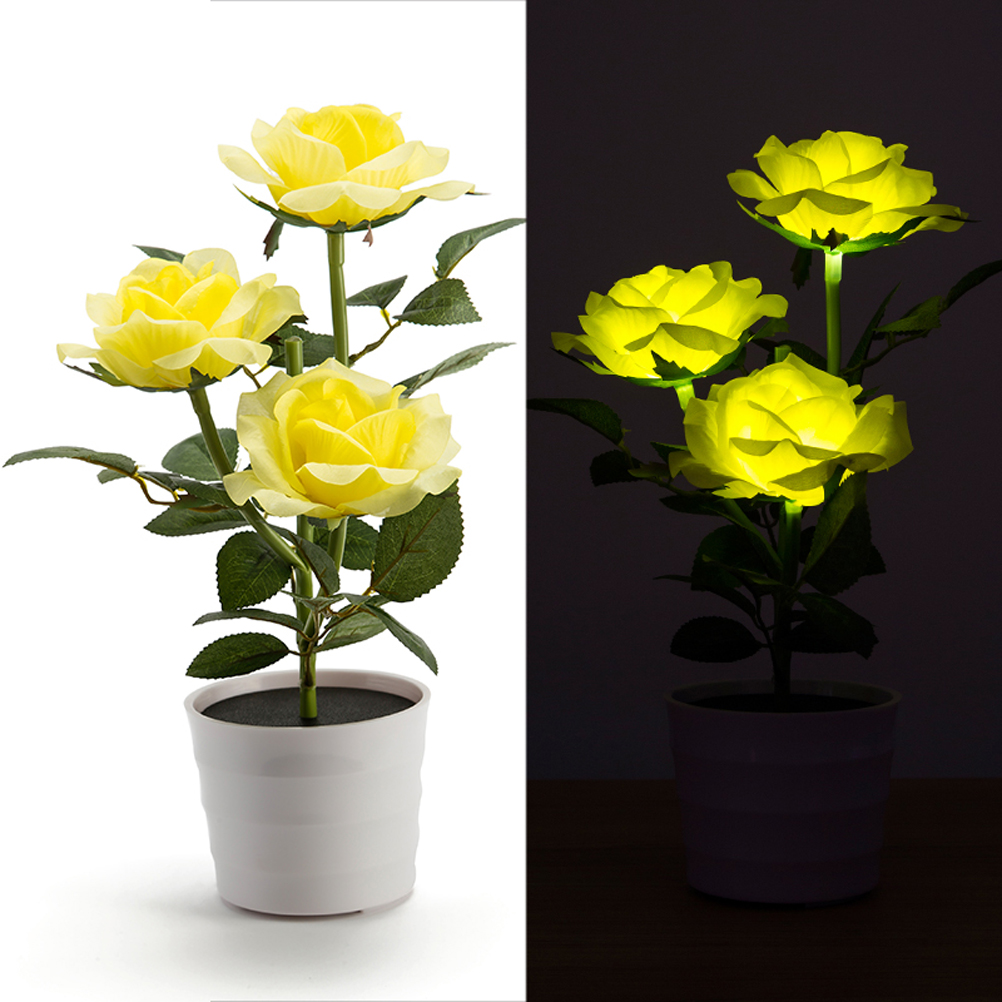 Solar Rose Flower Lights LED Lighted Artificial Rose Pot With 3 Lights Flower Bonsai LED Light Lamp Nightlight For Home Party