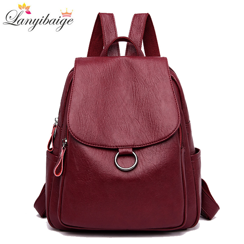 Classic Women Backpack 2019 High Quality Leather Youth Backpacks For Teenage Girls Female School Shoulder Bag Backpack mochilaClassic Women Backpack 2019 High Quality Leather Youth Backpacks For Teenage Girls Female School Shoulder Bag Backpack mochila