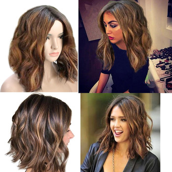 2018 New Fashion Wig Short Wavy Bobo Human Hair Rose net  Wig Glueless Front Wigs Black Women Hot Sell Wig Drop Shipping natural gorgeous women