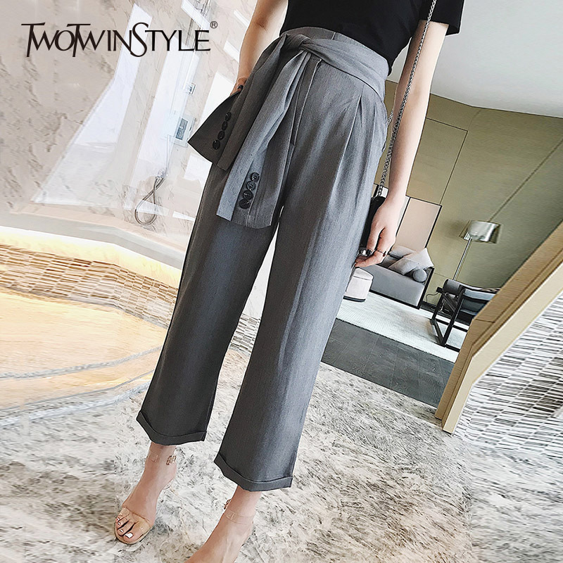 TWOTWINSTYLE Lace Up Pants For Female Patchwork High Waist Long Wide Leg Pants Oversize Summer 2018
