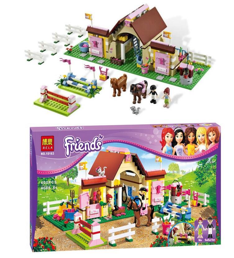 BELA 10163 Friends Heartlake Stables Girl Mia s Farm Stables Building Blocks Friends Buildable Educational Toys