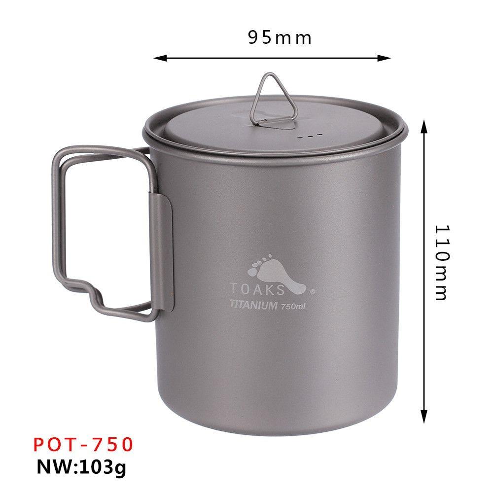 TOAKS Outdoor Hiking Camping Picnic Titanium Pot Mug Bowl 3 in1 Lightweight Camping Equipment 750ml