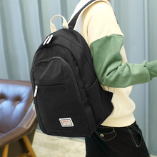 Backpack Large Capacity Solid Color Canvas Female Middle School Student Bag Male College Wind Leisure Computer