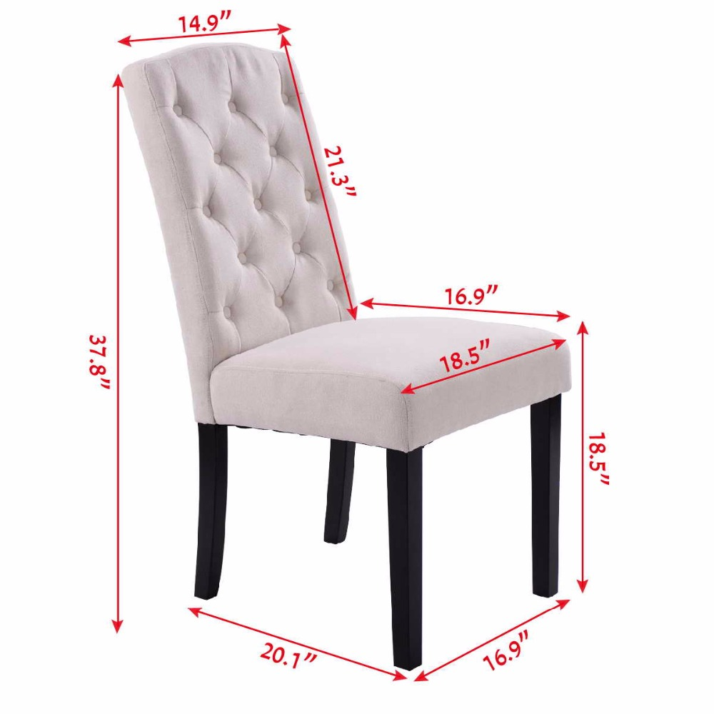 Goplus Set of 2 Fabric Wood Accent Dining Chair Tufted Modern Living ...