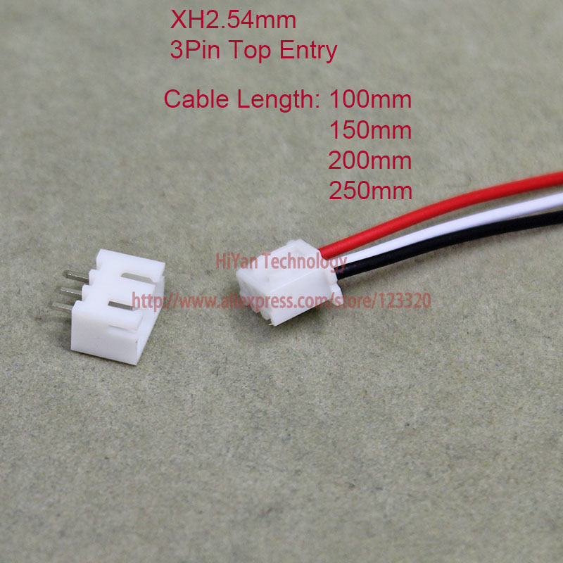 цены 50sets XH2.54 JST 2.54mm Pitch Top Entry 3Pin Connector 100mm To 250mm with 1007 26AWG Electronic Wire Cable Pin Header