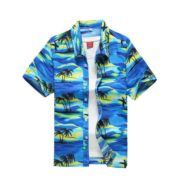 Hawajskie koszule męskie moda lato kolorowe drukowane krótki  MgDfT