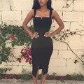 2016 Новый Летняя Мода Сексуальный Повязку Dress Женщины Твердые Оболочка Платья Квадратный Воротник Платья