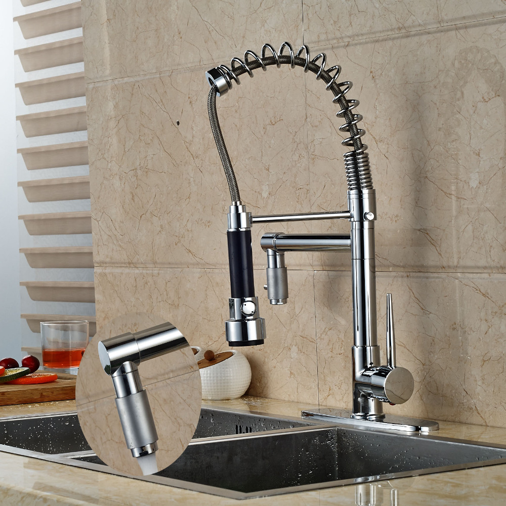 Deck Mounted Chrome Kitchen Faucet 2 Spout Swivel Vessel Sink Mixer 8 Plate Tap good quality wholesale and retail chrome finished pull out spring kitchen faucet swivel spout vessel sink mixer tap lk 9907