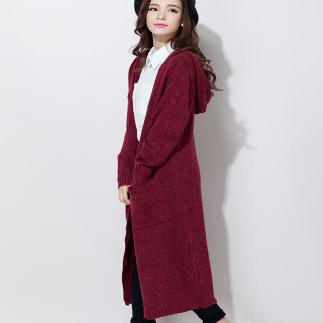 2016 Spring New Arrival Fashion Womens Casual Cardigan Knitting Coat Long Sweater Single Button Woolen Overcoat Plus Size
