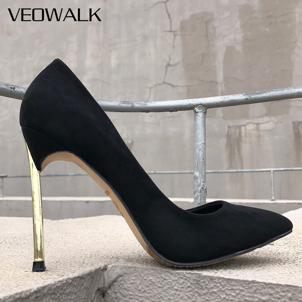 Veowalk Shinny Heel Women Flock Suede Sexy Pointed Toe Stiletto High Heels Ladies Slip On Party Pumps Shoes Black 6/8/10/12cm elegant women s round toe pumps with stiletto and suede design