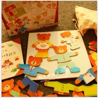 Baby Toys New Arrived Japan Ed Inter Bear Family Dressing Jigsaw Magnetic Puzzles Educational Story Book