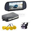 DIYKIT Video Parking Radar 4 Sensors + 7 inch Build-in LCD Display Mirror Car Monitor + Night Vision HD CCD Rear View Camera