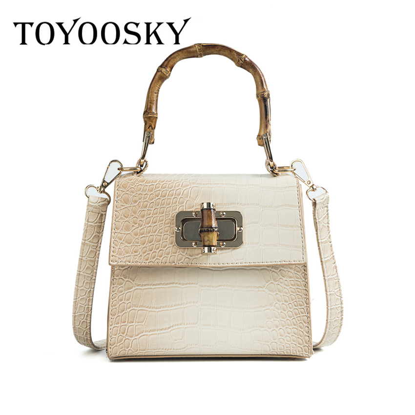 TOYOOSKY 2018 NEW Women PU Leather Handbags Bamboo Handle Shoulder Bags Ladies High Quality Bag Bolsas Femininas SacTOYOOSKY 2018 NEW Women PU Leather Handbags Bamboo Handle Shoulder Bags Ladies High Quality Bag Bolsas Femininas Sac