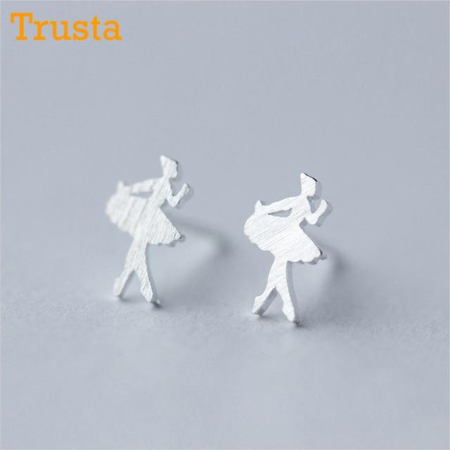 US $3.74 25% OFF Trusta 100% 925 Sterling Silber frauen Mode Nette Tiny Ballett Tänzerin Stud Ohrringe Geschenk Für Schule Mädchen Tochter geschenk