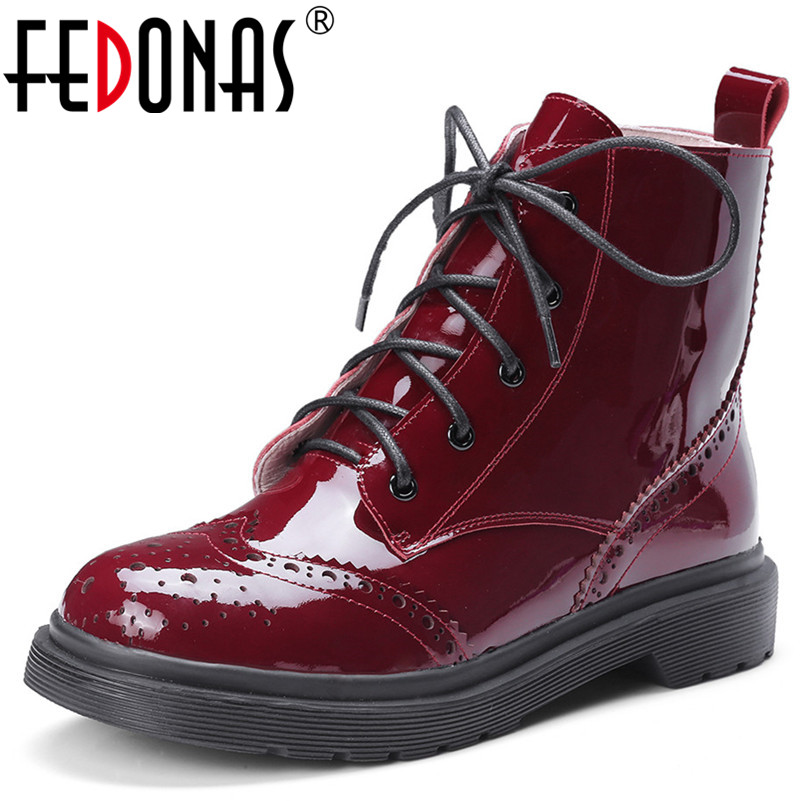 FEDONAS Punk Women Patent Leather Ankle Boots Thick Heels Autumn Winter Martin Motorcycle Boots Comfort Casual Shoes Woman