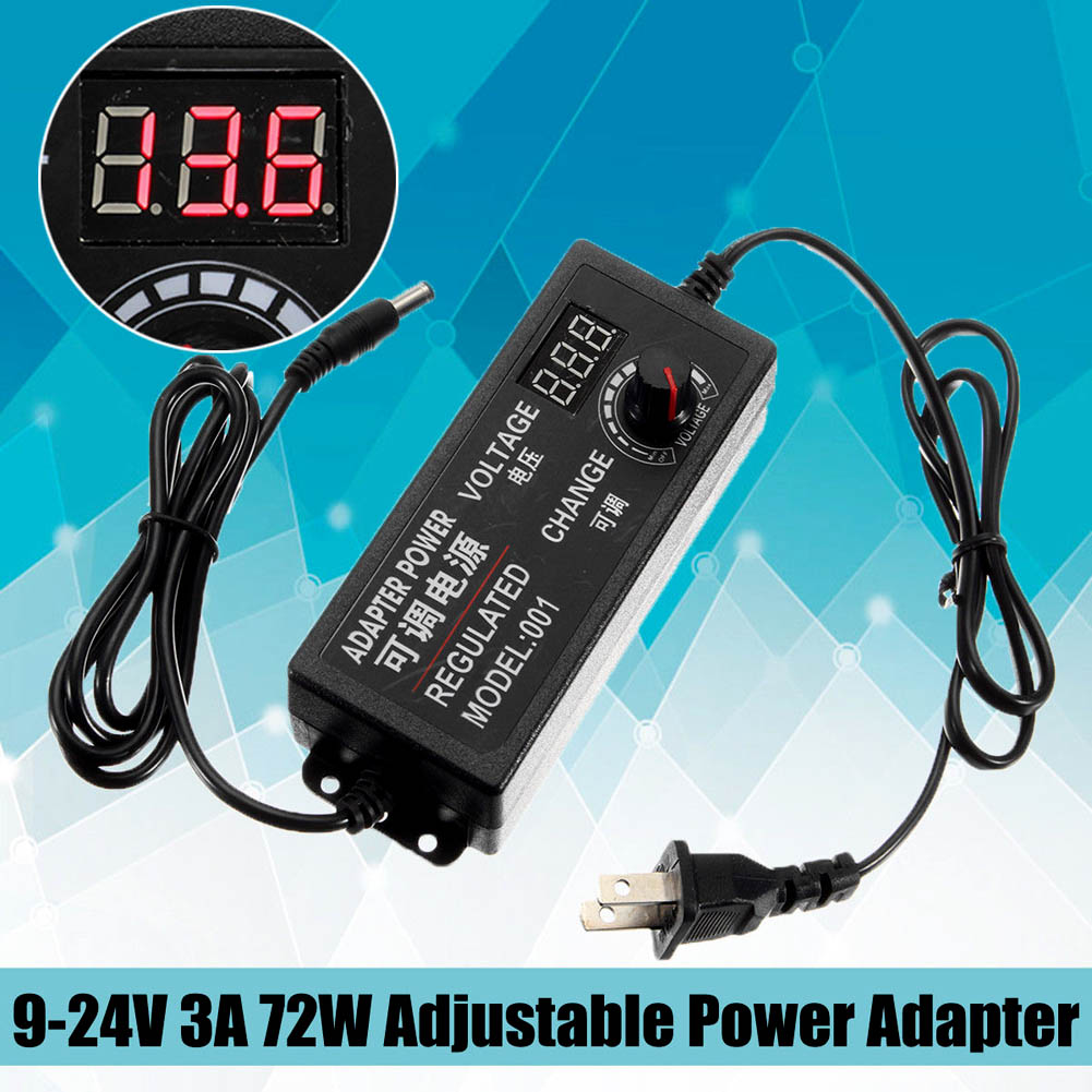 цена на 9-24V 3A 72W Adjustable Power Adapter Speed Control Volt AC/DC Supply Display --M25