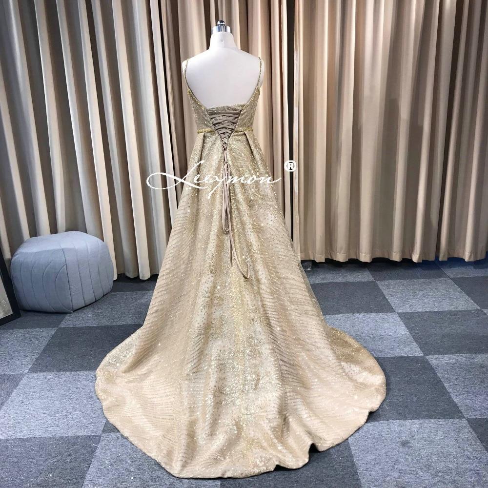 Leeymon 2019 fait sur commande or paillettes Spaghetti bretelles a-ligne robe de bal longueur de plancher robes - 4