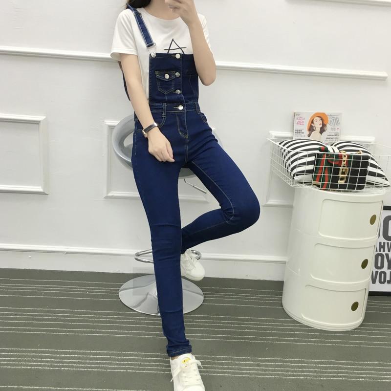Vintage 2018 Korean Style Women Pocket   Jumpsuit   Denim Slim Long Pants Bodycon High Waist Jeans   Jumpsuits   Solid Color Femme Jeans