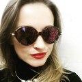 Hot sale new 2017 binful espelho de óculos de sol da marca padrão de folha retro do vintage da moda óculos de sol das mulheres designer de marca óculos de sol