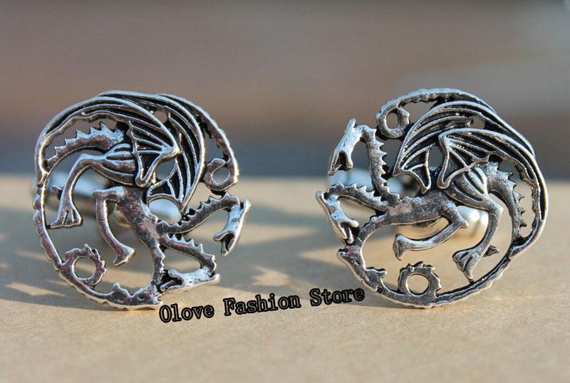 Dragon Cufflinks Costume Jewelry Shirts Thrones Cosplay Wedding Vintage Luxury Game of