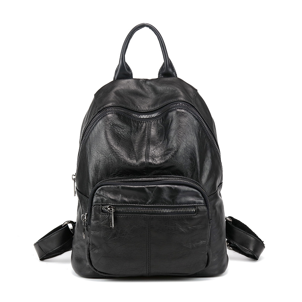 New Leather Double Shoulders Bag Japan Korea Fashion Trending Backpack Leather Leisure Casual Student Bag