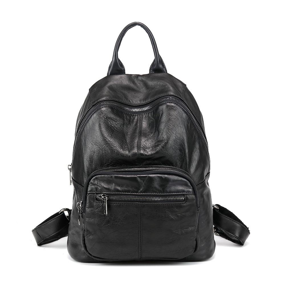 Nouveau cuir Double epaules sac japon corée mode tendance sac à dos en cuir loisirs décontracté étudiant sac