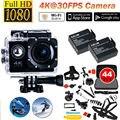 Frete grátis! F60 4 K 30FPS 1080 P HD WI-FI Câmera de Ação de Esportes + 2 Bateria + 44 in1 Kit de acessórios