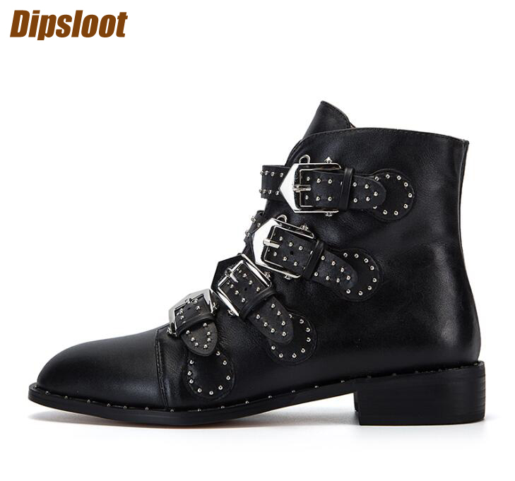 Studded Leather Buckles Women Ankle Boots Knight Style Ladies Square Heel Boots Spring Hot Female Fashion Street Boots Size 42 black smooth leather women peep toe boots sexy cut out ladies high heel boots ankle buckles knight style female fashion boots