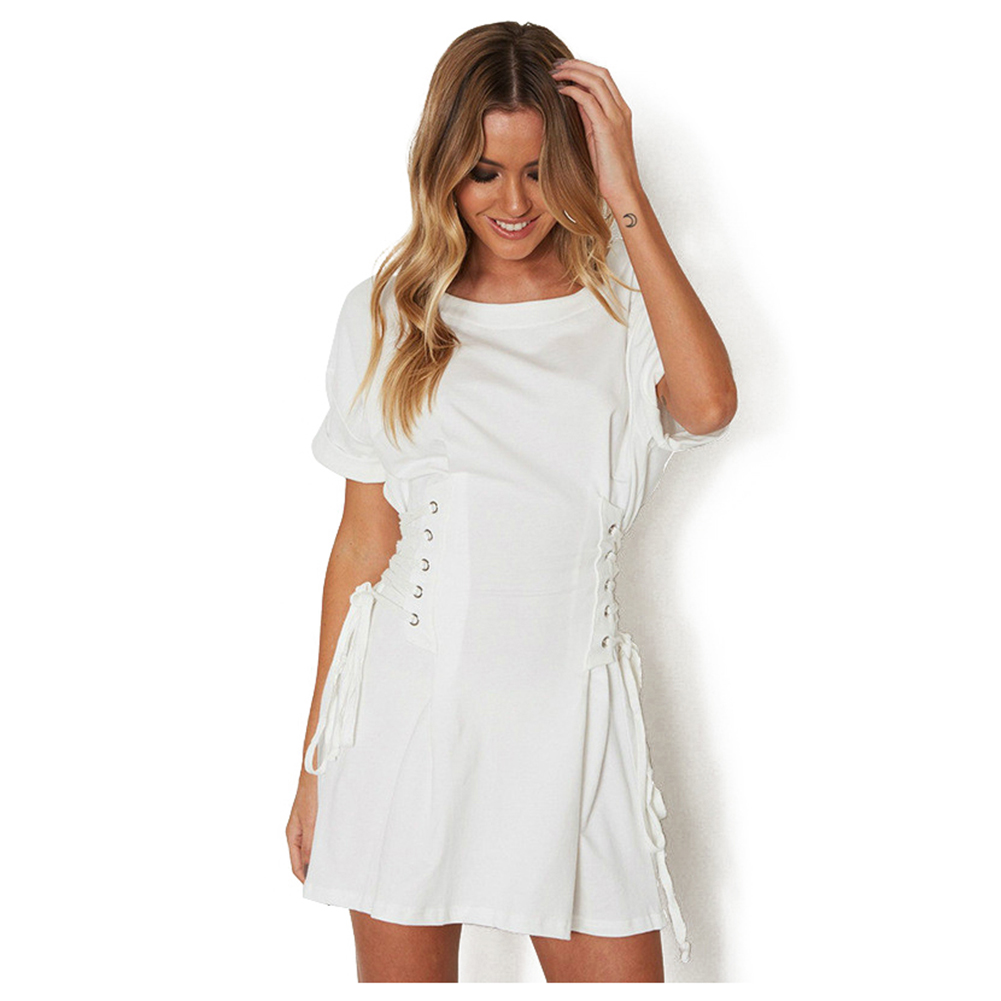Women Casual Cloth Summer Fake Bandage Solid Dress Sexy Slim Corset Mini Pleated T shirt Dresses