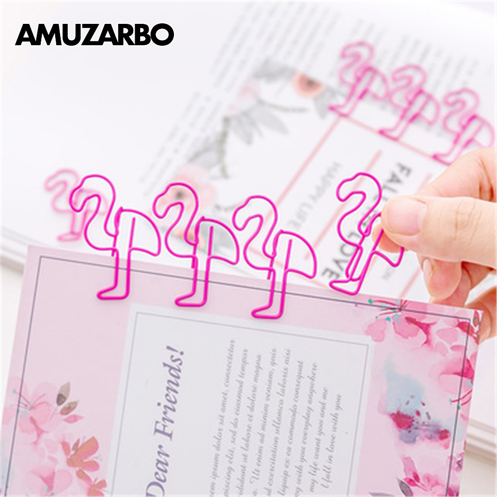 1pcs Kawaii Cartoon Pink Flamingo Animals Paper Clips Metal Material Bookmarks Office Clips For Book Stationery School Supplies