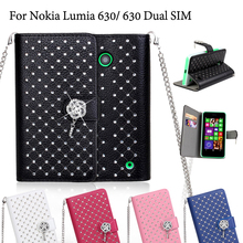 עבור nokia lumia 630/630 dual sim case שמי זרועי הכוכבים ריינסטון עור תבואה ליצ 'י stand case עבור nokia lumia 630 כיסוי Coque(China (Mainland))