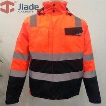 Высокая видимость Защитная куртка бомбер оранжевый Зимняя Светоотражающая водонепроницаемая куртка Рабочая одежда размера плюс
