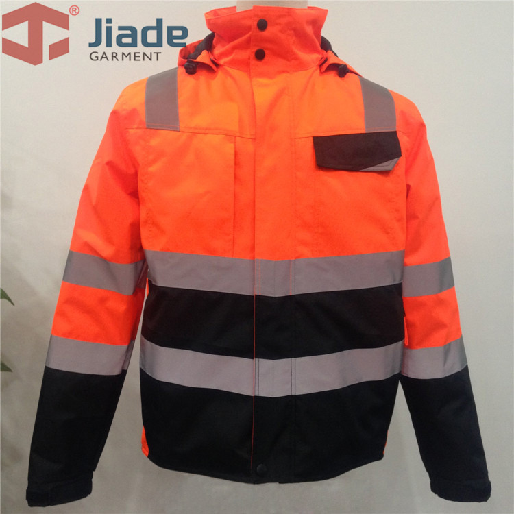 High Visibility Safety Bomber Jacket Orange Winter Reflective Waterproof Jacket Work Wear Plus Size striped trim zipper up bomber jacket