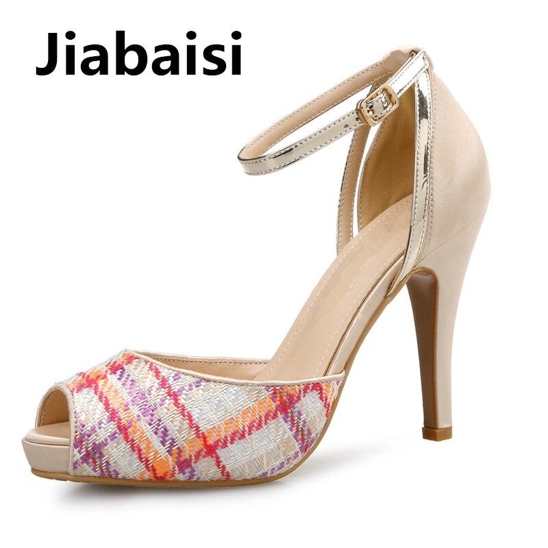 Jiabaisi shoes Women sandal Woven Grid Platform Heels Peep toe Stilettos Large Size Party fashion Classic women sandals red brown tassel women sandal stilettos shoes women sandal open toe made to order plus size 14 stilettos discount dress shoe