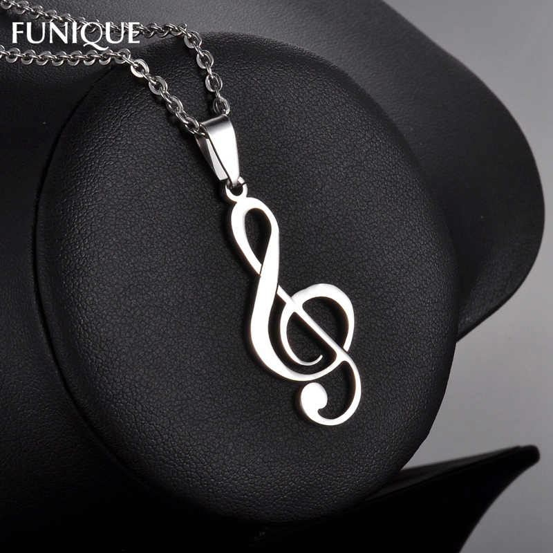 FUNIQUE Music Note Charms Silver Tone Stainless Steel Necklace Pendant  For Making Women Men Pendant Necklace Jewelry 46*18mm