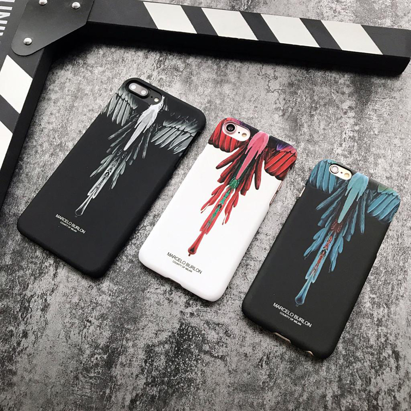 Wings Pattern Marcelo Burlon Hard Plastic Cover Iphone 6 6S S Plus 7 7Plus 8 8Plus X Street Culture Phone Cases