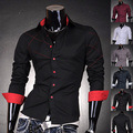 2016 Mens Fashion Cotton Designer Brand Slim Fit Dress Shirts Tops Western Casual Dress Shirt 5 Colors 5 Sizes 2028